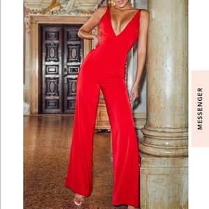 House of CB Red Plunge Neck Jumpsuit